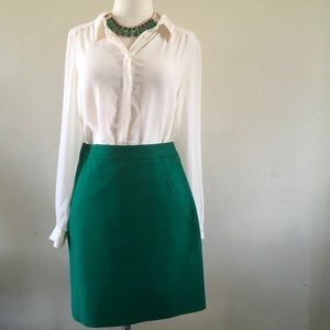 🛍 Kate Spade Emerald Green Fitted A-line Skirt 🛍
